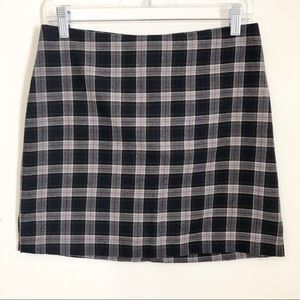 Vintage Plaid Side Slit Mini Skirt